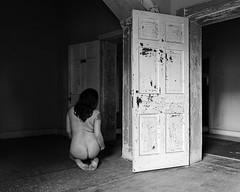 Memory Lapse (sadandbeautiful (Sarah)) Tags: me woman female self selfportrait abandoned bw hospital doorways