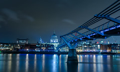 Millennium Bridge (iankent1963) Tags: millennium bridge river thames longexposure london cityscape reflections winter nikond5100 architetecure noperson capital catherdral nightshot