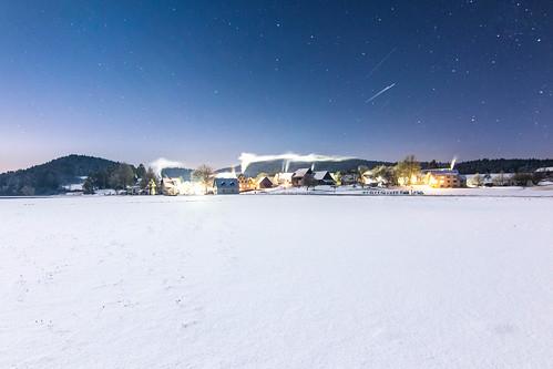 Eiskalte Winternacht bei Unterachtel (Hirschbach) in der Frankenalb