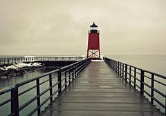 (Lauren Glass.) Tags: northernmichigan lighthouse red lakemichigan charlevoix snow winter
