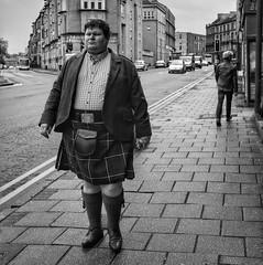 Off-Kilter (crookedmouth) Tags: street man kilt walk glasgow scottish fujifilm x100t