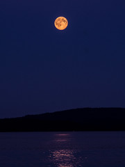 Full Moon with Reflection over the Lake (Cheeky-Mouse) Tags: travel moon lake reflection nature water architecture reflections landscape outdoors sweden outdoor fullmoon moonrise scandinavia simple 2015 stugan