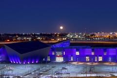 "Full ""Snow"" Moon over TELUS Spark (rosero.kaitlynzia) Tags: canada calgary cityscape fullmoon moonrise alberta snowmoon february2012 telusspark"