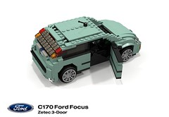 Ford Focus Zetec 3-Door (MkI - C170) (lego911) Tags: auto ford car model focus lego stuck render company 1998 motor hatch 72 challenge 1990s 90s revised cad lugnuts povray moc redo ldd miniland mki 3door c170 3dr lego911 stuckinthe90s cw170