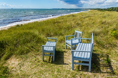 Landscape with chairs (Pawe Szczepaski) Tags: ocean blue sea sky beach grass clouds bench relax landscape se boat chair marine europe european view wind sweden horizon lawn wave windy stormy swedish rope baltic greenery rest scandinavia scandinavian scania ystad szwecja skania