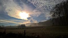 The Sun Breaks Through The Mist (ivlys) Tags: odenwald frankenhausen nebel fog sonne sun raureif hoarfrost landschaft landscape feld field wald forest baum tree nature ivlys