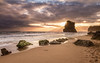 Sunset at Gibson Steps (Quiroswald) Tags: australia beach greatoceanroad sunset silhouette canon 7d water ocean rocks warm