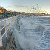 New Year splash [Explored 01-01-17] (Bon Espoir Photography) Tags: rhosonsea colwynbay northwales sea waves railings sunny winter splash buildings wales motog4