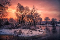 frozen island in sunrise (Florian Grundstein) Tags: sunrise winter trees creek riverside cold early bavaria upperpalatinate clouds nopeople picoftheday