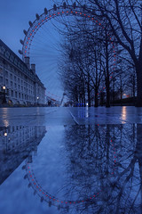 Still got the blues for you...London (Sean Hartwell Photography) Tags: blue red bluehour bluesky london eye ferriswheel water reflection southbank lambeth trees puddle