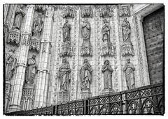 Detail of Church at Sevilla (DPRPhoto) Tags: cathedralinsevillaspain sevillaspain cathedrals architecture architecturaldetails travelphotos blackandwhite blackandwhitebuildings europeantravel