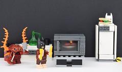 🍴 LEGO Lobster vengeance (Alex THELEGOFAN) Tags: lego legography minifigures minifigure minifigs minifig minifigurine movie the batman black kitchen killer kill lobster lovin seafruit animal water cook sandwich food bottle atlantis knife fridge mask white