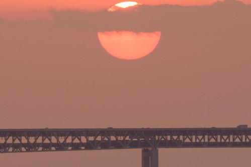 関空・夕景7・Sunset over Kanku Airport Bridge