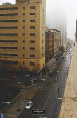 Washington Street (_mndgmes) Tags: fog rain buffalo new york canon 7d 2470mm cityscape city downtown metro cars