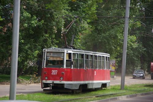 Irkutsk tram 71-605 207, Partizanskaya ul before remove reserved tram tracks ©  trolleway