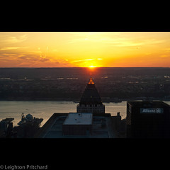 Jersey Sunset (widdowquinn) Tags: nyc newyorkcity light sunset orange usa newyork skyscraper us newjersey glow rockefellercenter jersey hudsonriver hudson rockefeller worldwideplaza