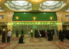 Pilgrims Praying In Front Of The Ayatollah Khomeini Mausoleum, Shemiranat County, Behesht-e Zahra, Iran (Eric Lafforgue) Tags: travel green grave photography death persian memorial shrine asia respect iran symbol buried muslim islam faith religion tomb persia visit indoors mausoleum devotion burial leader iranian spirituality tehran orient revolutionary groupofpeople cultures pilgrimage tombs pilgrim attraction pilgrims koran offerings shiite placeofworship mausoleums qom ghom famousplace khomeini   beheshtezahra 5people colourimage qum  iro ayatollahkhomeini shiiteislam iranianculture  placeconcerningdeath  shemiranatcounty iran150901