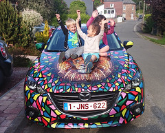 #heinemazda (Ben Heine) Tags: cute art smile car children happy belgium lion voiture laugh enfants theo mazda sourire mazda3 braives benheineart digitalcirclism heinemazda