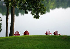 Dunlap Lake Chairs (Wits End Photography) Tags: morning red lake plant reflection tree green nature water pool field grass yard rural america landscape outside mirror illinois still chair midwest quiet exterior view natural chairs outdoor seat country lawn smooth scenic restful peaceful calm reservoir american shore serene seating relaxed picturesque grounds tranquil turf sod waterway gentle soothing heavenonearth edwardsville flickrfriday flickerfriday challengegamewinner
