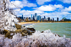 Icy Chicago Skyline ((Jessica)) Tags: ice icy icicle icicles frozen winter cold freezing freeze lake lakemichigan chicago chicagoskyline skyline illinois midwest unitedstates adlerplanetarium beach northerlyislandpark icestorm lakeshore lakefront clouds sky fluffyclouds polarvortex arcticvortex arctic chiberia northerlyisland waves john hancock tower johnhancocktower 12thstreetbeach outdoor outdoors sunny chicagoist nature branch water nex5t bluesky iceformations buildings adler wonderland smugmug tree sony lightroom pw museumcampus winterwonderland alpha city skyscrapers shelfice