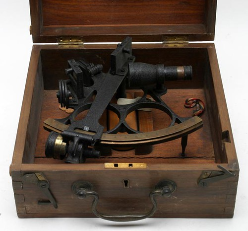 U.S. Navy Standard Pelorus ship's navigation instrument; Kelvin and Wilfrid White Sextant; Keuffel and Esser Planimeter ($212.80, $212.80, $190.40)