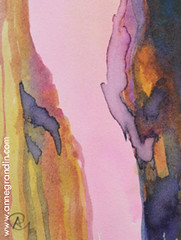 XS : Canyon, 2016_184 (annegrandin) Tags: xs 2016 painting small dessin illustration miniature peinture french france art contemporain moderne modern canyon encre ink soleil rose abendrot camaieu nuances color shades couleur