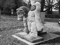 Holding onto his hat (seikinsou) Tags: ireland westmeath winter pony horse dward fat basket turf peat wicker statue sculpture stone bw belvedere