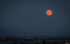 Full-moon, red-moon (explored 14/12/2016) (joseee1985) Tags: d750 landscape nature evia moon 2016 sea summer hometown fullmoon island 70200mm greece onceinayear august16 nikon red