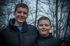 Brother And Brother (littlefishworm2) Tags: sony nex5n helios 442 58mm f2 brothers alex anthony me tree bokeh background blur cold wood pile winter photographer selfie cat eye effect jacket coat embracing