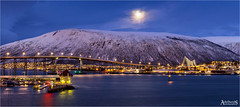 Full moon over Tromsø, Norway (explored) (AdelheidS photography) Tags: adelheidsphotography adelheidsmitt adelheidspictures norway norge noorwegen norwegen noruega norvegia nordic norvege bluehour blauweuurtje blauwuurtje blue cityscape church tromsø troms bridge fullmoon moon viewfrommyhotelwindow