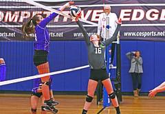 IMG_3358 (SJH Foto) Tags: girls volleyball teen teenager team ava u16s net battle spike block action shot jump midair burst mode redhead favourite