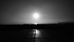 untitled (ChrisRSouthland (away for a month)) Tags: sun sunlight intothesun intothelight simple simplicity bw blackwhite blackandwhite reflection sea
