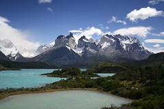 Different lakes (Joost10000) Tags: lake mountain landscape landschaft torresdelpaine wild wilderness chile southamerica blue colours colors ice snow glacier patagonia green canoneos5d canon eos lakepehoe lagopehoe lago outdoors scenic nature