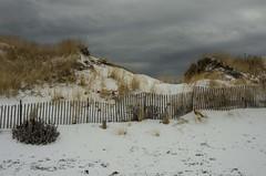 Ogunquit Beach In Winter (Bud in Wells, Maine) Tags: ogunquit ogunquitbeach maine dunes fence cloudy snow winter newengland coast