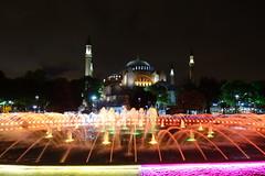 Aya Sofia and the dancing colors fountain (Cagsawa) Tags: ayasofia ayasofya hagiasofia hagiasophia hagia sultanahmet turkey istanbul fountain mosque nightscene night nightphotography rx100