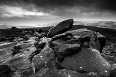 High Above Hathersage (andy_AHG) Tags: landscape photography scenic beautiful landscapes british countryside outdoors rural northern england pennines moors rocks sunrise summer hathersage moor over owler tor winyards nick outdoor rock formation sunset peak district history prehistory walking rambling blackandwhite monochrome