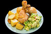 Power pyramid of chicken drumsticks (garydlum) Tags: chicken duckfat duck avocado restaurant springonion belconnen chickendrumsticks pickledchillies canberra potato roastpotato