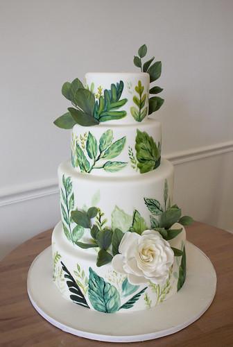 Botanical Garden Painted Wedding Cake