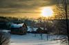 Winter Sunrise (dorianborovac) Tags: sunrise sun tree winter snow house outdoor nature morning clouds branches nikon d5100 chimney smoke