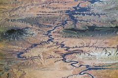 Lake Powell (sjrankin) Tags: 23january2017 edited nasa iss iss048 iss048e73279 reservoir lake desert uswest oblique lakepowell utah arizona mesa butte coloradoriver