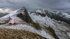 'Winter Wildcamp' - Nantlle Ridge, Snowdonia (Kristofer Williams) Tags: mountains landscape cwm snowdonia wales camping wildcamp tents figure scale nantlleridge ygarn mynydddrwsycoed trumyddysgyl winter