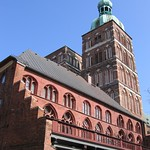 Town hall Stralsund (southern side with balkony) and St. Nicholas church