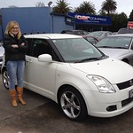 Fiona McKercher came over from Blenheim to buy this little Swift from Chris McQuade after seeing it on line,
