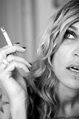 cigarette (Rgis Dubois) Tags: portrait woman face cigarette femme blonde fume visage percing