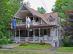 Bay View Cottage (Atelier Teee) Tags: michigan cottage flags porch bayview atelierteee terencefaircloth