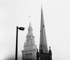 View in Downtown Cleveland (gmbernstein) Tags: leica city blackandwhite film spires cleveland m6 2835 ddx acros200 zeissbiogonf2835