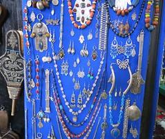 Tuesday Colours - Silver on Blue (Pushapoze - toujours en retard) Tags: silver bijoux morocco maroc souk medina marrakesh bracelets jewels colliers argent necklaces luckycharms argento hamsa fibules gioelli portebonheurs