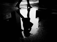 puddlegram (Dan-Schneider) Tags: streetphotography schwarzweiss street blackandwhite bw puddle puddlegram reflection urban olympus omdem10 monochrome mirror
