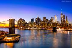 View of the Brooklyn Bridge and the NY Skyline from the Manhattan Bridge (Anand Shivalkar) Tags: longexposure sunset exposureblending nikon d7000