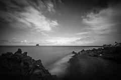 Stromboli 11 (gsamie) Tags: 600d aeolianislands canon guillaumesamie isoleeolie italy rebelt3i sicilia sicily stromboli beach blackandwhite clouds gsamie lava longexposure sand sea strombolicchio